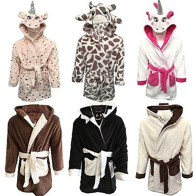Girls Boys Bathrobe Kids Animal Monkey Pug Shark Dressing Gown Fleece Nightwear