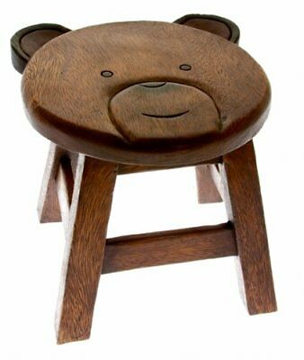 Hand Carved Wooden Stool Bears Face Design Also An Ideal Footstool