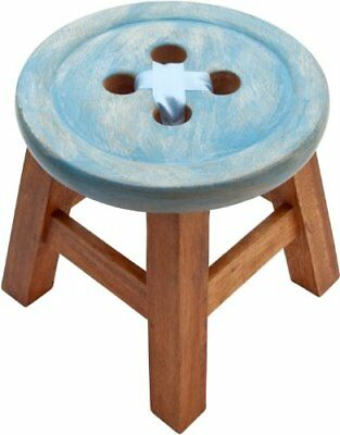 Hand Carved Wooden Stool Blue Button With Ribbon Design Also An Ideal Footstool