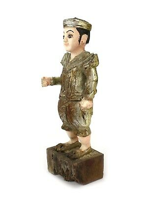 Antique Burmese Nat, standing figure, JC5. Old Lacquered wood statue Burma, 25cm