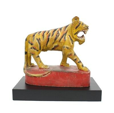 Antique Burmese tiger, painted and lacquered wood. 20cm. Burma Original Statue.