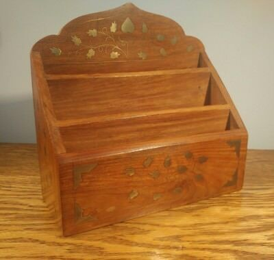 Attractive Vintage Wooden Letter Rack With Decorative Brass Inlay
