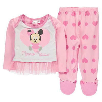 Girls Baby Pyjama Set Disney Minnie Mouse Childs Character Night Wear Bed