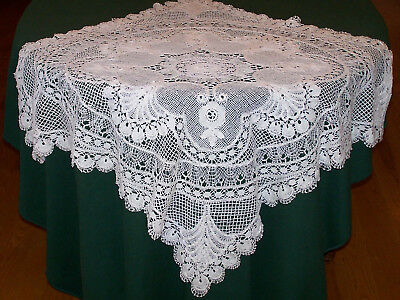 """SPECTACULAR VINTAGE ITALIAN NEEDLE LACE TABLECLOTH, TOPPER, 36"""" x 36"""", c1920"""