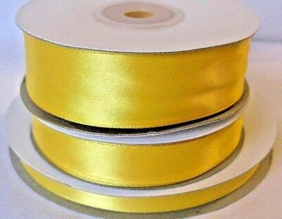 Full Reel Bright Gold Double-Sided Satin Ribbon. Width - 3mm, 10mm, 16mm or 25mm