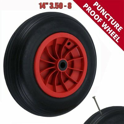 "14"" Pu Puncture Proof Wheelbarrow Wheel Light Weight Foam Red 3.50 - 8 Barrow"
