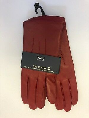 Ladies Marks And Spencer M&S SMALL Leather Gloves RED ** New **