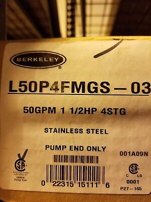 Berkeley 50 GPM / 1.5 HP Submersible SS pump end L50P4FMGS-03