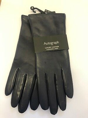 Marks And Spencer M&S MEDIUM Navy Ladies Cashmere Lined Leather Gloves * New *