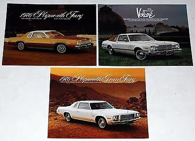 1976 Plymouth Voltaire + Fury + Gran Fury 3pc Car Brochure Catalog Lot