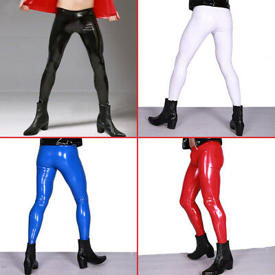 Men Sexy Shiny Leather Pants PVC Vinyl Wet Look Long Tight Trousers Clubwear