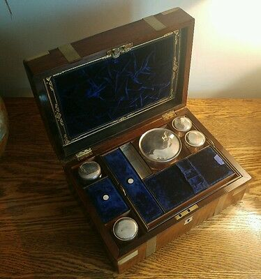 SUPER EARLY 19thC BRASS BOUND CAMPAIGN-STYLE FITTED VANITY BOX c1815