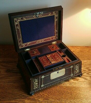EXQUISITE WILLIAM IV LADIES TABLE CASKET WITH DECORATIVE BRASS INLAY c1830