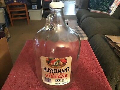 Vintage Musselman's Apple Cider Vinegar Clear 1 Gallon Glass Jug