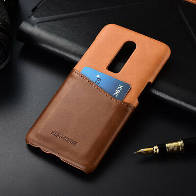 For OnePlus 6 6T 5T Genuine Leather Wallet Credit Card Slot Full Case Back Cover