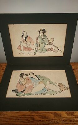 TWO CLASSIC & HIGHLY COLLECTIBLE JAPANESE MOUNTED SHUNGA EROTIC PAINTINGS c1850