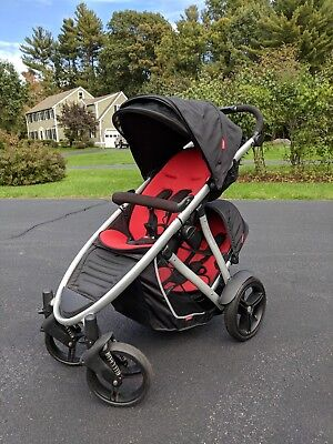 Phil & Teds Verve Double Stroller, Black & Red, Used