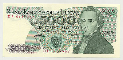 Poland 5000 Zlotych 1-12-1988 Pick 150.c UNC Uncirculated Banknote SERIE DR
