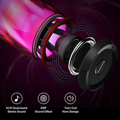 Portable TWS Bluetooth Speakers 4.2 HD Bass Powerful Sound LED Lights 6Patterns