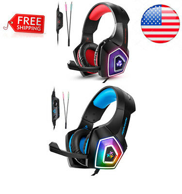 Noise Cancelling Over Ear Gaming Headset With Mic LED Lights For PS4 Xbox One PC