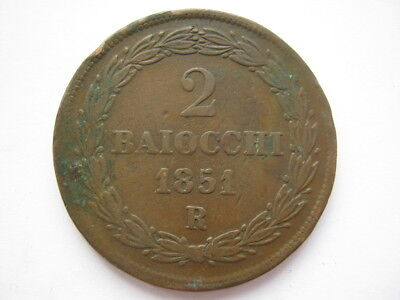 Italy Papal States 1851 copper 2 Baiocchi GF