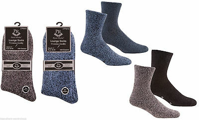 Mens Pierre Roche 2 Pair Pack Lounge Socks Soft Slipper With Grip NEW