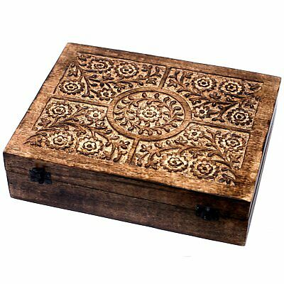 Carved Wooden Brass Aromatherapy Essential Oils Storage Box Holds 12