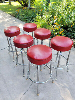 Vintage 1950's Red Swivel Bar Stool RoyalChrome Royal Metal MFG Fifties Diner