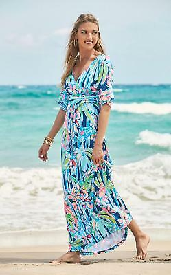 1b3cf326c1b918 NEW Lilly Pulitzer PARIGI MAXI DRESS Indigo Pop Up Jungle Hopping Pink Blue  XXS