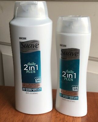Suave Professional Lot of 2 Daily 2 in 1 Plus Shampoo and Conditioner NEW