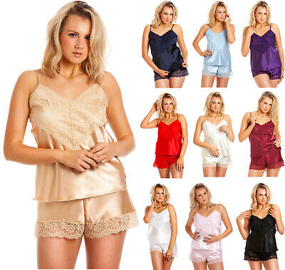 50144d867f937 Ladies Satin Camisole Set Womens Baby Doll Lace Detail With French Knickers  NEW