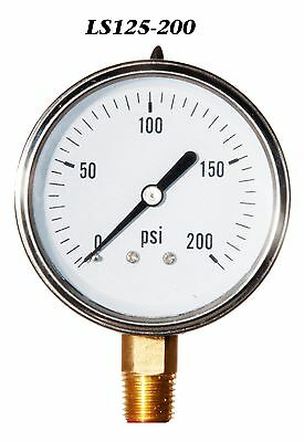 New Hydraulic Liquid Filled Pressure Gauge 0-200 PSI