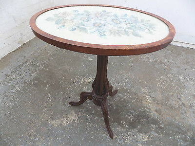 antique,victorian,oval,taperstry,tilt top,side table,end table,tripod base,table