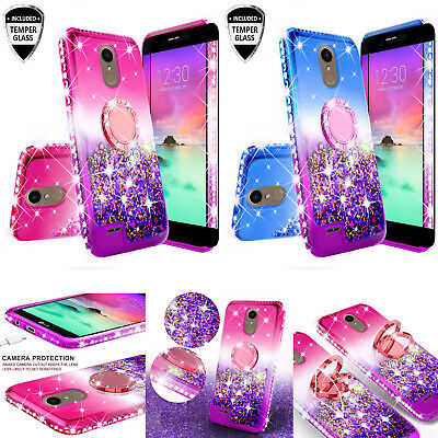 LG Rebel 4/LG Risio 4 LTE Liquid Glitter Bling Phone Case Girl Ring Kickstand