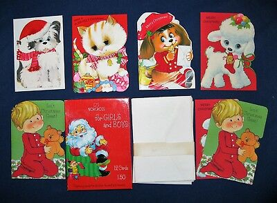 7 Vintage Childrens Christmas Cards w/ Envelopes For Boys & Girls In Box Unused