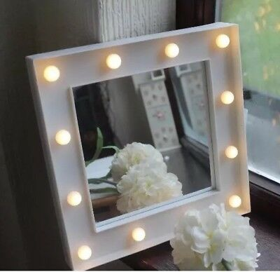 Small White Led Holly Wood Style  Wall Mirror Girls Room Bathroom Mirror Bedroom