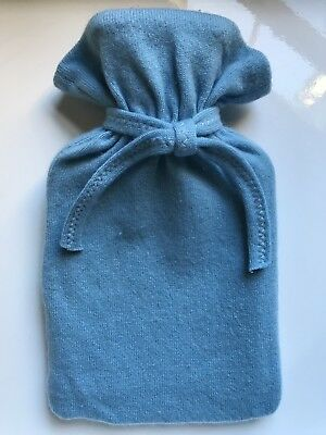 100% Cashmere Hot Water Bottle Cover (and Bottle) Blue Luxury Bed Homeware Sleep