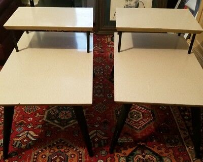 Pair Vtg Mid Century Modern Blonde Wood Formica Step End Tables w/ Tapered Legs