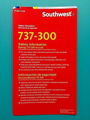 2016 Southwest Airlines Safety Card--737-300-Newest Version