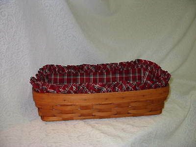 LONGABERGER PLAID TIDINGS LINER ONLY for BREAD BASKET used