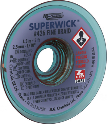 "MG Chemicals 426 (#4) 5 Foot Roll of 0.100"" (2.5mm) Fine Braid Solder Wick"