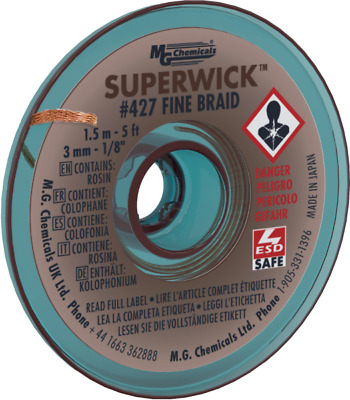 """MG Chemicals 427 (#5) 5 Foot Roll of 0.120"""" (3.0mm) Fine Braid Solder Wick"""