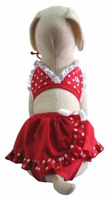 UP Collection Polka Dot Dog Skirt Bikini, X-Small, Red and White
