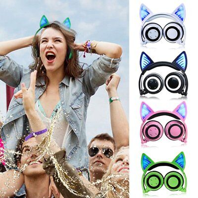 Foldable Cat Ear LED Lights Headphones Gaming Headset Earphone Flashing LOT #e