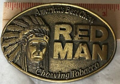 Red Man Chewing Tobacco Belt Buckle 1988 Pinkerton