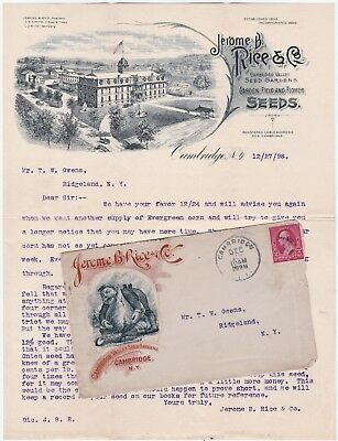 SUPER 1898 Advertising Cover& Graphic Letterhead Jerome Ride Seeds Cambridge NY