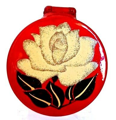 Vintage Art Deco RED LACQUER Double Mirrored Compact with SINGLE ROSE Enamel.