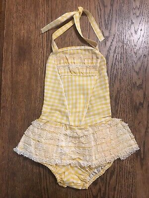 True Vtg Girl's Yellow Gingham & Lace Ruffle Tutu Swim Suit Sz 6 USA made