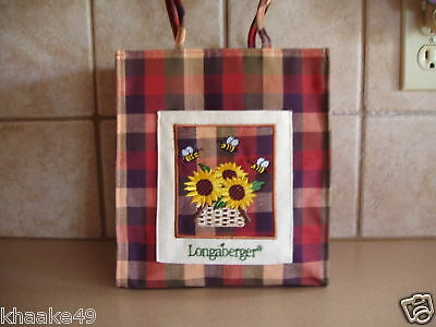 Longaberger Homestead Plaid Small Tote * Embroidered Sunflowers Nip * Free Ship