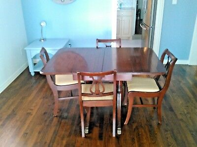 Vintage 40's - 50's Duncan Phyfe Style Mahogany Dining Set Lyre Back Chairs